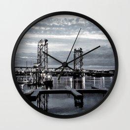 B&W Night Bridge Lights Wall Clock