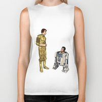 c3po Biker Tanks featuring C3PO & R2D2 by joshuahillustration