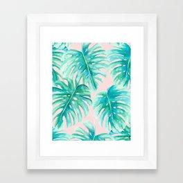 Paradise Palms Blush Framed Art Print
