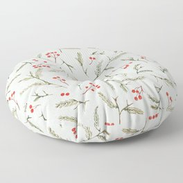 Christmas Pine and Berries Watercolor in Green Frost Floor Pillow