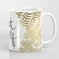 treat yo self Mugs featuring Treat Yo Self – Gold by Cat Coquillette