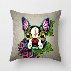 Day of the Dead Boston Terrier Sugar Skull Dog Throw Pillow