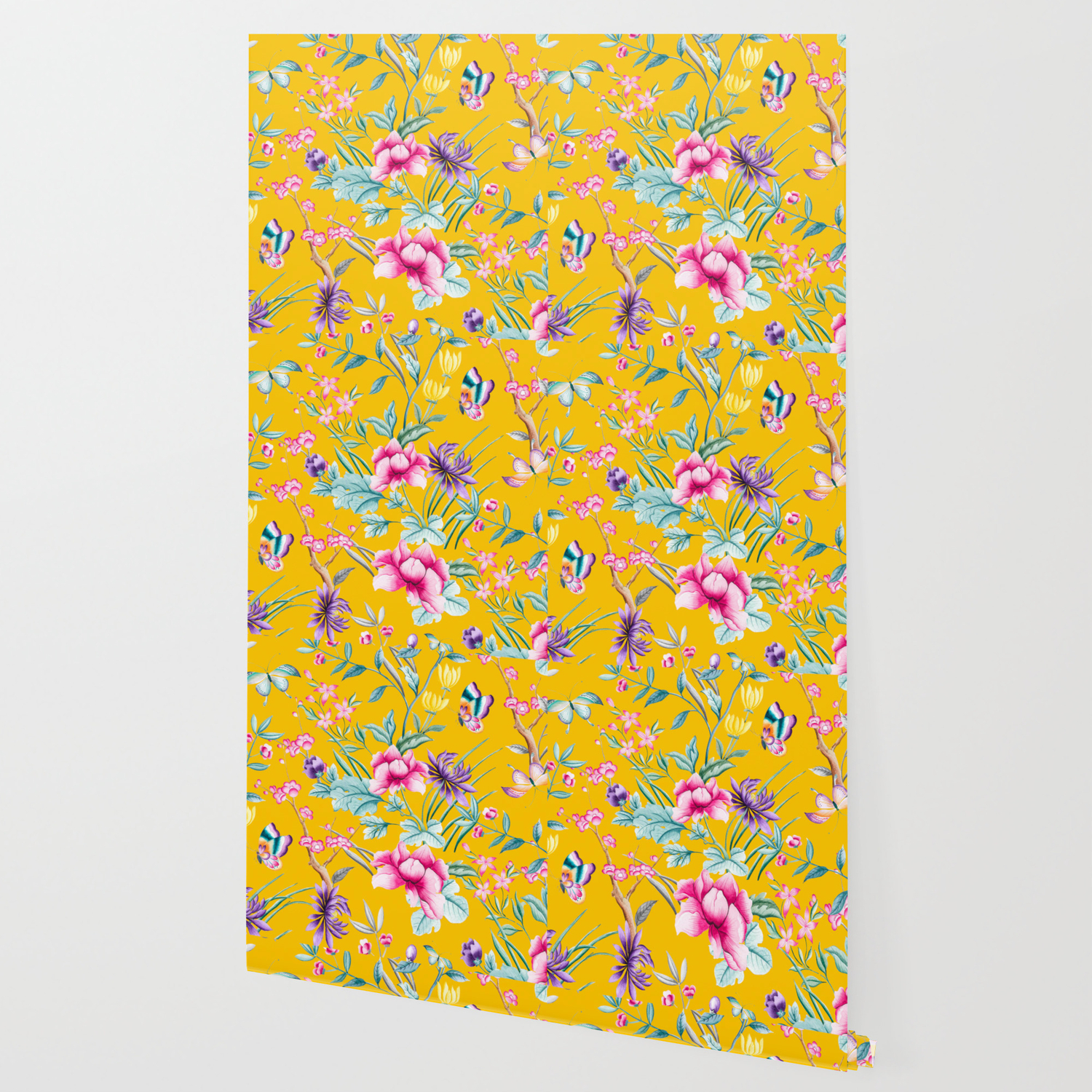 Chinoiserie Mustard Yellow Floral Wallpaper By Peggieprints Society6
