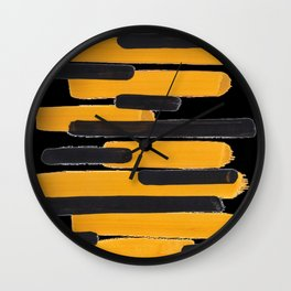 Mid Century Abstract Black & Yellow Fun Pattern Mustard Striped Primitive Stripes Wall Clock