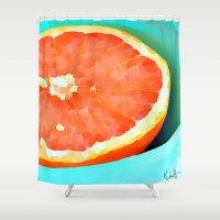 aelwen Shower Curtains featuring Grapefast by Xchange Art Studio