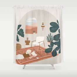 the living room rug Shower Curtain