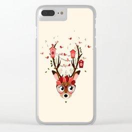 Biche et cabanes à oiseaux (rose) Clear iPhone Case