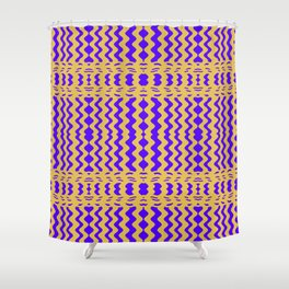 Bright Purple Yellow Wavy Lines Shower Curtain