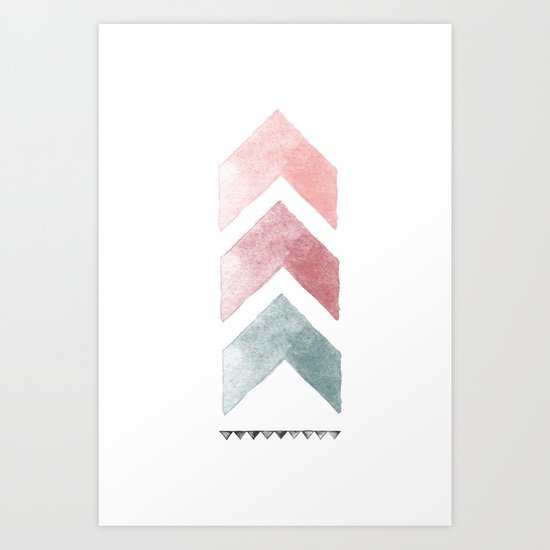 Pink and Blue Chevron Watercolor Art Print