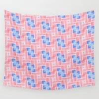 american flag Wall Tapestries featuring American Flag by Mari Orr (@meandering_mari)
