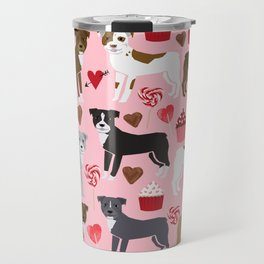 Pitbull valentine dog love rescue dogs valentines day hearts cupcakes dog gifts Travel Mug