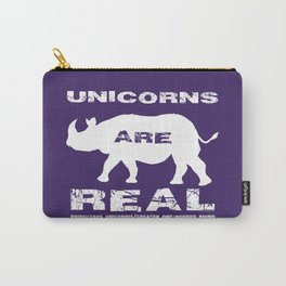Unicorns are Real, Rhinoceros Unicornis silhouette on purple Carry-All Pouch