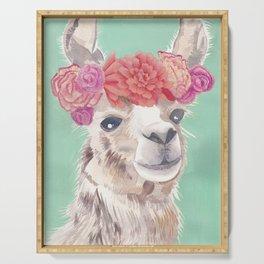 Flower Crown Llama Serving Tray