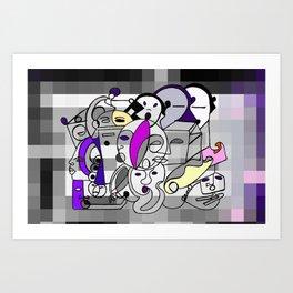 Black White Commotion Art Print
