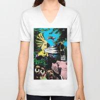 wildlife V-neck T-shirts featuring Wildlife by Pierre-Paul Pariseau
