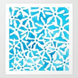 Blue stars falling Art Print