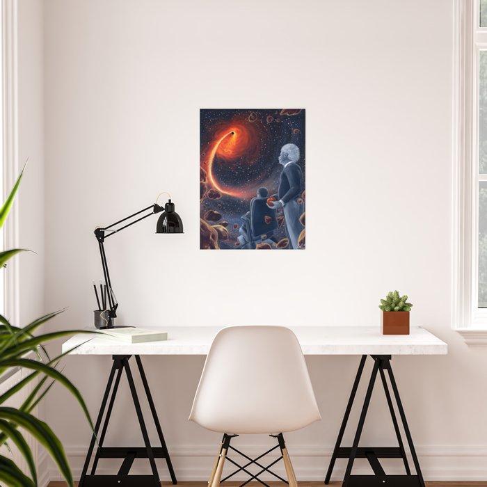 Ghosts in the Sky: Stephen Hawking and Albert Einstein Poster