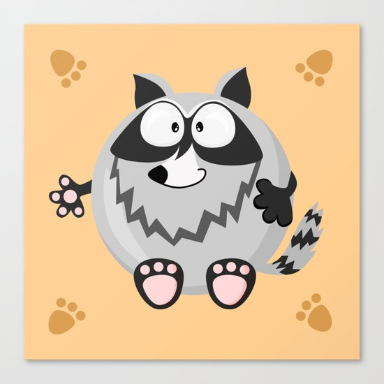 Raccoon from the circle series Canvas Print