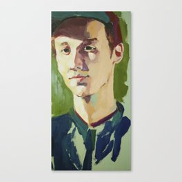 Young Kenneth Surrounded by Green Canvas Print