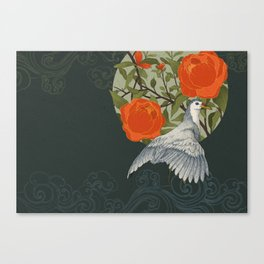 The bird and red flowers Canvas Print