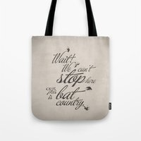 fear and loathing Tote Bags featuring Fear and Loathing in Las Vegas by Caz Lock Draws