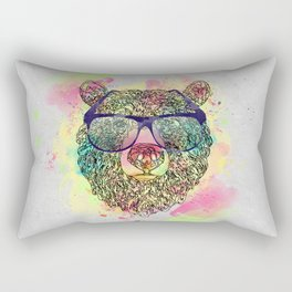 Cool watercolor bear with glasses design Rectangular Pillow