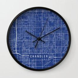 Chandler Map, USA - Blue Wall Clock