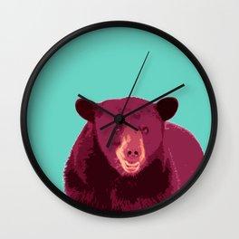Bear poster, Brown bear, Happy bear wall art, GRIZZLY BEAR, animal bear, pop art poster Wall Clock