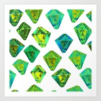 Green gemstone pattern. Art Print