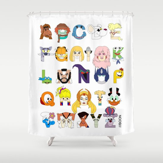 Child of the 80s Alphabet Shower Curtain by Mike Boon   Society6