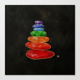 Zen Pebbles Chakras - Watercolor & Gold Canvas Print