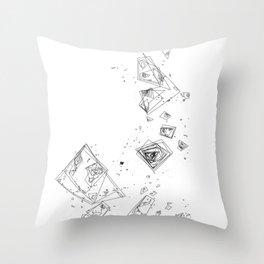 Mountain Vertices, Mt. Shasta, Black Geometric Throw Pillow