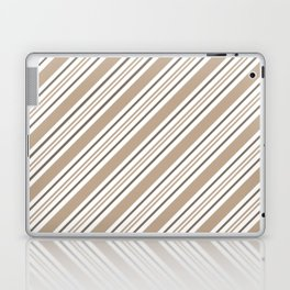 Pantone Hazelnut Nutmeg and White Thick and Thin Angled Lines - Stripes Laptop & iPad Skin