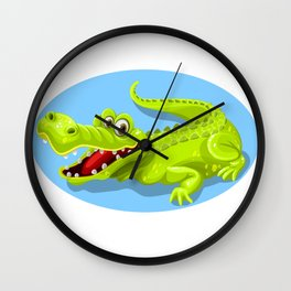Cartoon Crocodile Vector Design Wall Clock