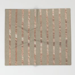 Rose gold stripes on natural grain Throw Blanket