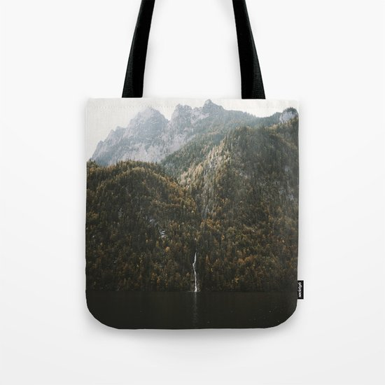 Autumn Waterfall at the Mountain Lake - Landscape Photography Tote Bag