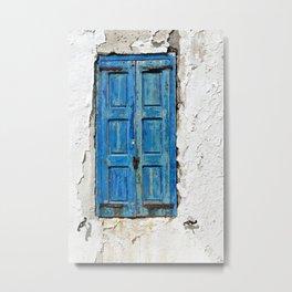 Blue Shuttered Window in Mykonos island in Greece Metal Print