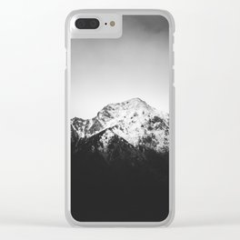 Black and white snowy mountain Clear iPhone Case