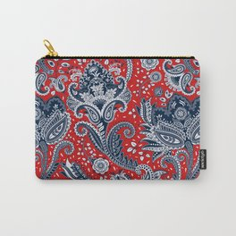 Red White & Blue Floral Paisley Carry-All Pouch