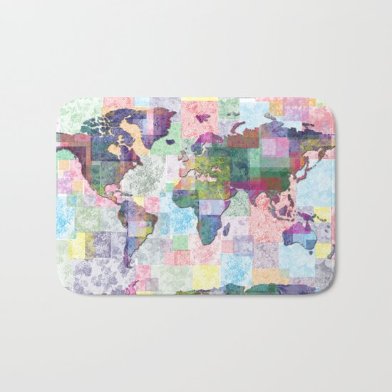world map floral collage Bath Mat