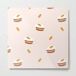 Cute Carrot Cake Seamless Pattern Metal Print