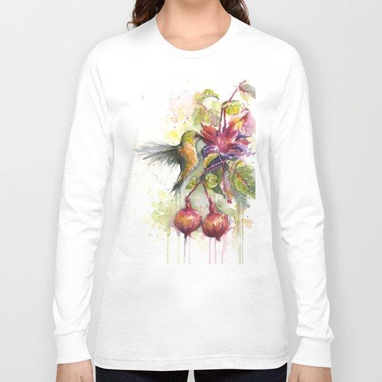 Hummingbird and Fuchsia Watercolor Long Sleeve T-shirt