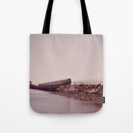 NEW YORK SUBWAY IS ABOVE GROUND WHEN IT CROSSES JAMAICA BAY AREA Tote Bag