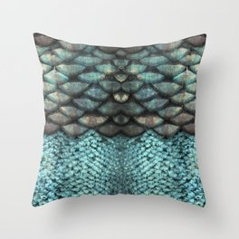 Mermaid Scales Dreamy Sea Blue Throw Pillow