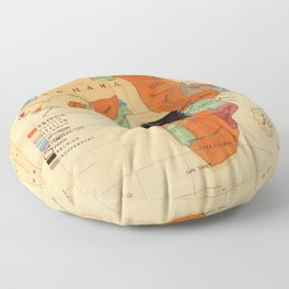 1908 Colonization Map of African Continent Color Coded by Occupying Country  Floor Pillow