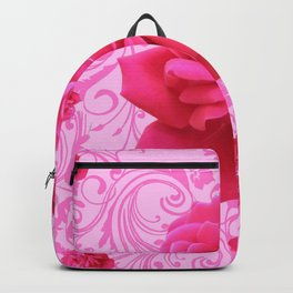 BEAUTIFUL  PINK ROSE SCROLLS GARDEN ART Backpack
