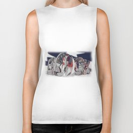 Rock in transparent letters with american flag Biker Tank