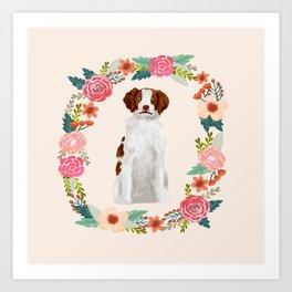 brittany spaniel dog floral wreath dog gifts pet portraits Art Print