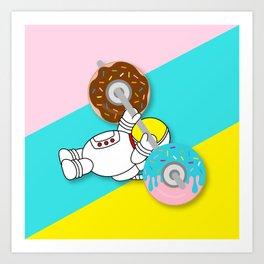 Astro Donut Dumbbell   Astronaut   Cosmonaut   pulps of wood Art Print