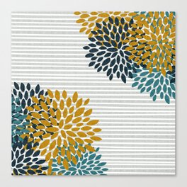 Floral Blooms and Stripes, Navy Blue, Teal, Yellow, Gray Canvas Print